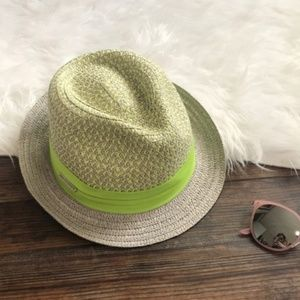 001b18e2b Vince Camuto green patterned crown fedora hat